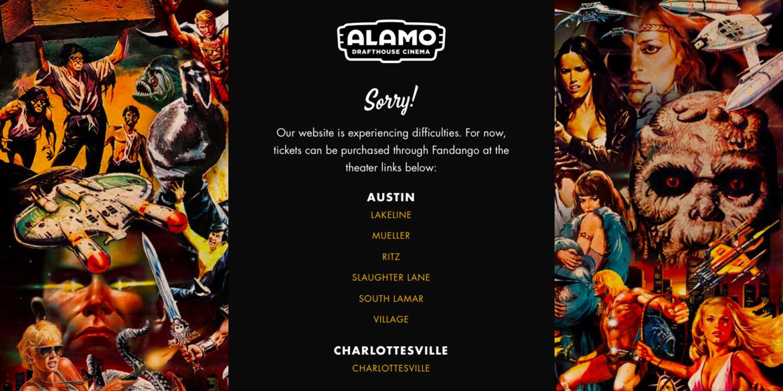 Alamo Drafthouse Endgame crashed website