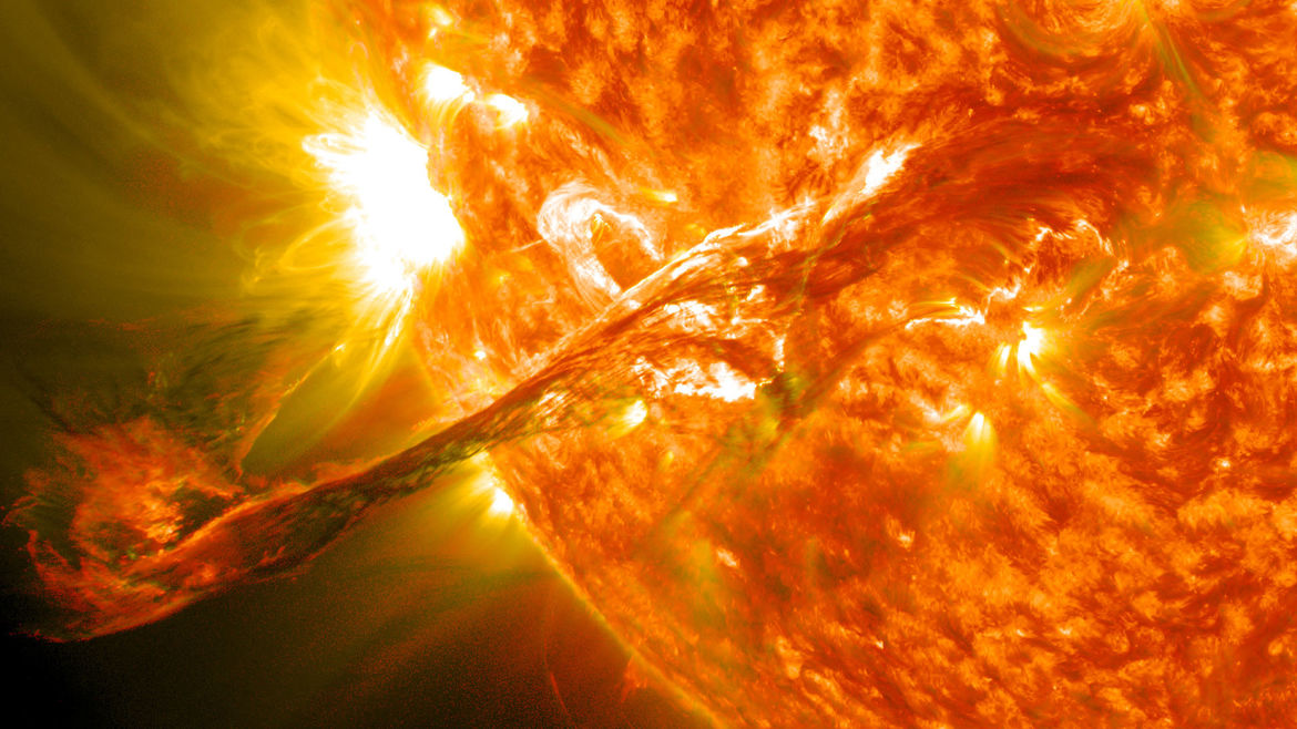 An enormous prominence on the Sun erupted in 2012, caught here by the Solar Dynamics Observatory. Credit: NASA/GSFC/SDO