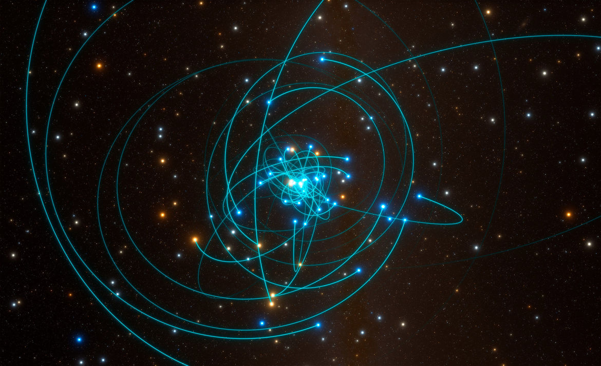 A simulation showing the positions and orbits of stars orbiting the supermassive black hole in the center of the Milky Way. Credit: ESO/L. Calçada/spaceengine.org