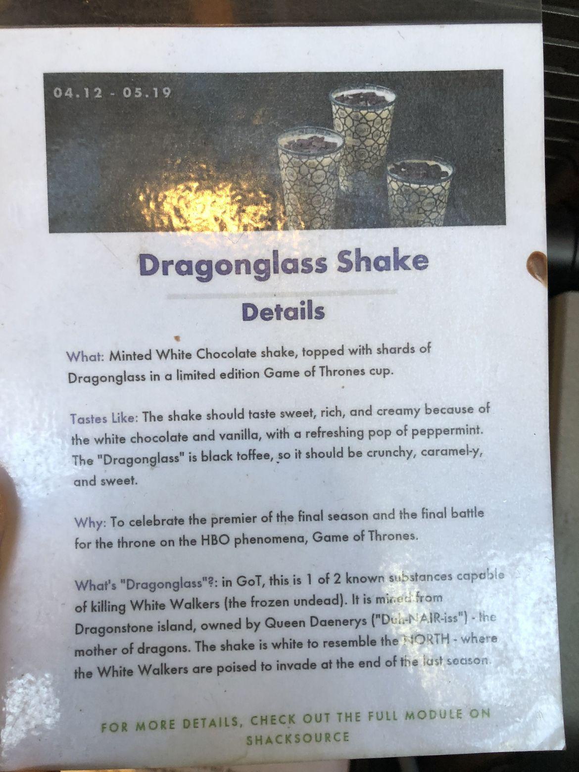 Shake Shack Menu- Dragonglass Shake