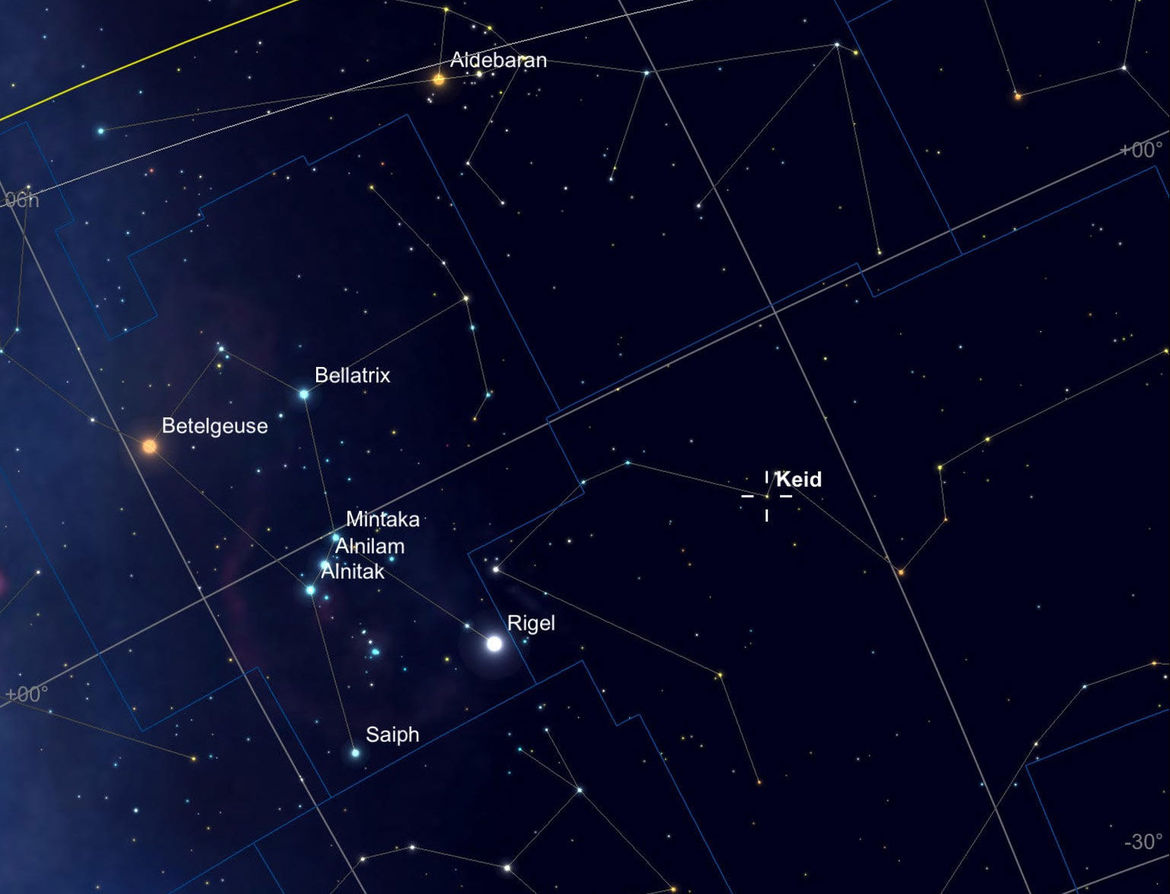 The location in the sky of Keid, also known as 40 Eridani, the star that hosts the planet Vulcan in Star Trek. It's up in the winter, near Orion, and is easily visible to the naked eye. Credit: Sky Safari