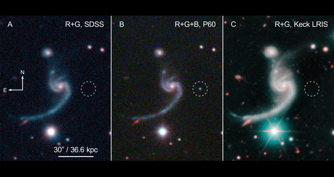 Three images (from different telescopes) of the galaxy and SN 2014ft: Before (left), during (middle), and after (right) Credit: SDSS/Caltech/Keck/De et al.