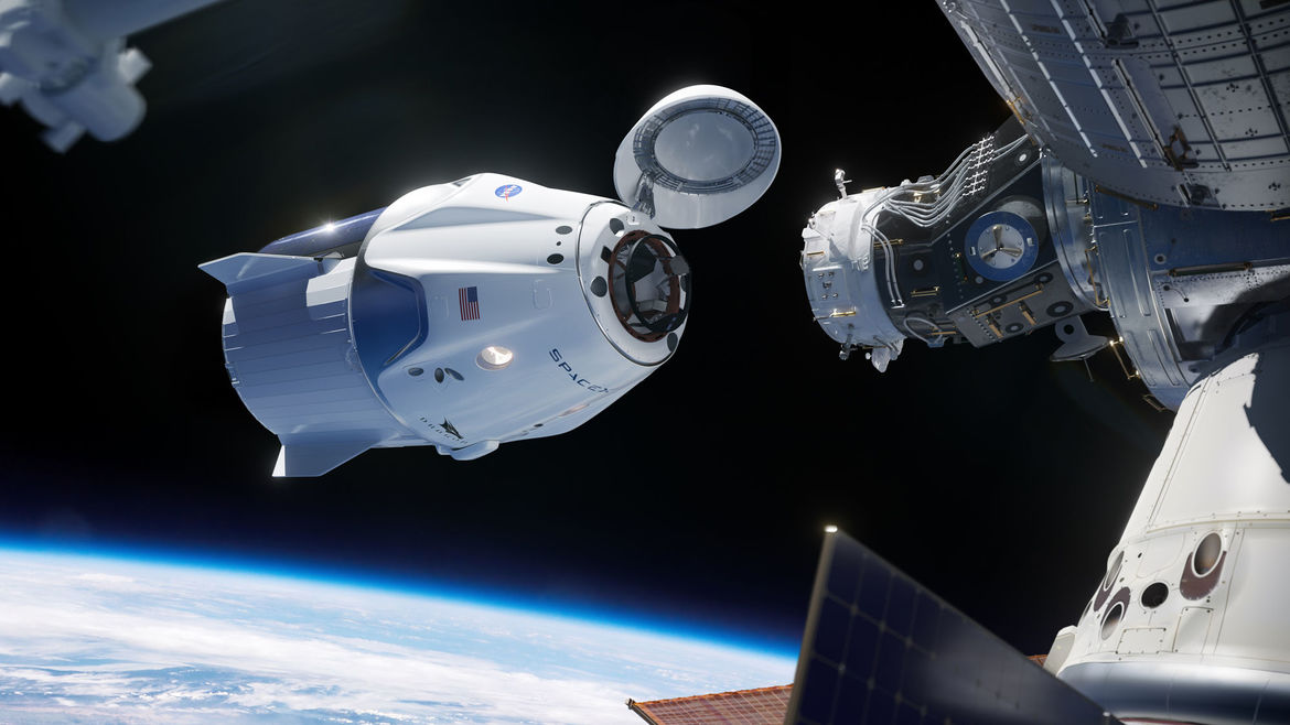 Artwork depicting the SpaceX Crew Dragon capsule about to dock with the International Space Station. Credit: NASA