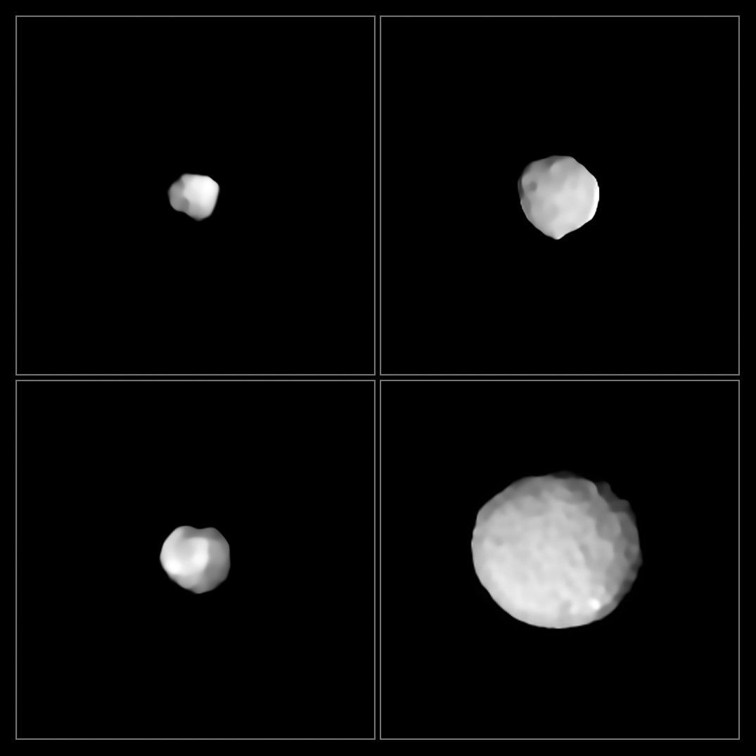 Four asteroids seen by the ZIMPOL camera: (from upper left and going clockwise) 29 Amphitrite, 324 Bamberga, 2 Pallas, and 89 Julia. Credit: ESO/Vernazza et al.