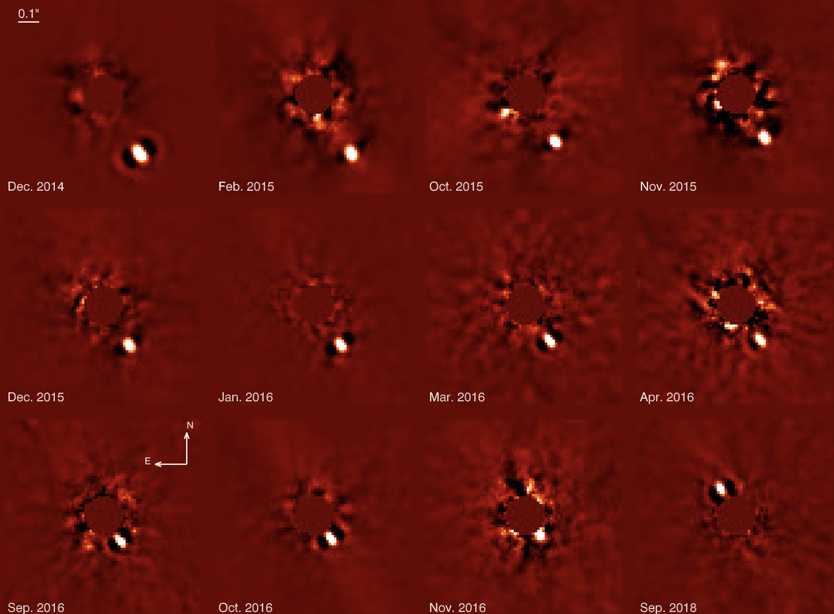 Sequence showing the motion of Beta Pictoris b as it orbits its star, taken with the SPHERE detector on the Very Large Telescope. Credit: Lagrange, et al.