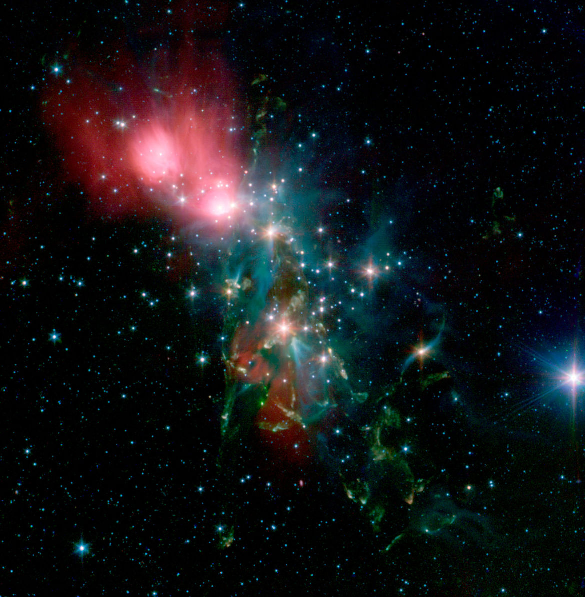 In infrared light seen by Spitzer Space Telescope, NGC 1333 shows copious young stars scattered throughout its gas. Credit: NASA/JPL-Caltech/R. A. Gutermuth (Harvard-Smithsonian CfA)