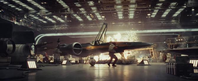 Last Jedi hangar x-wing explosion