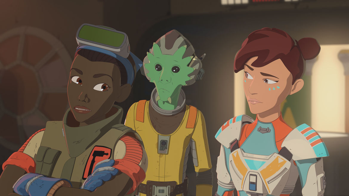 Tam, Neeku, and Torra Doza from Star Wars Resistance