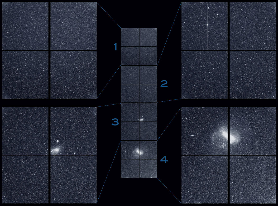 """The TESS science """"first light"""" image shows the stack of four images taken by each camera (middle column) with close-ups from each camera on the sides. Credit: NASA/MIT/TESS"""