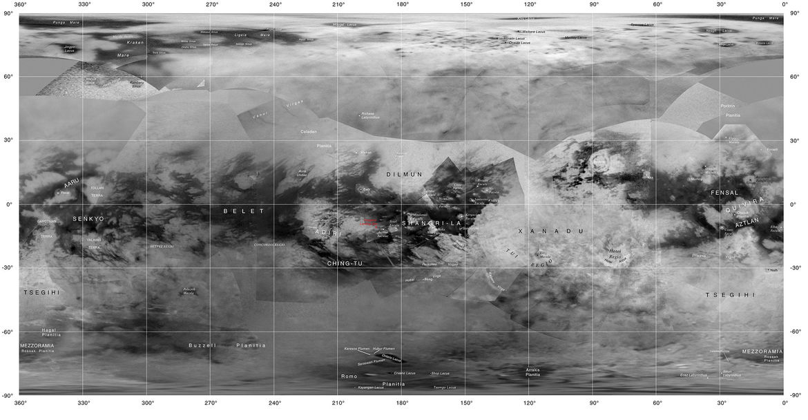 A map of Saturn's moon Titan created using Cassini images. Credit: NASA/JPL-Caltech/Space Science Institute/USGS