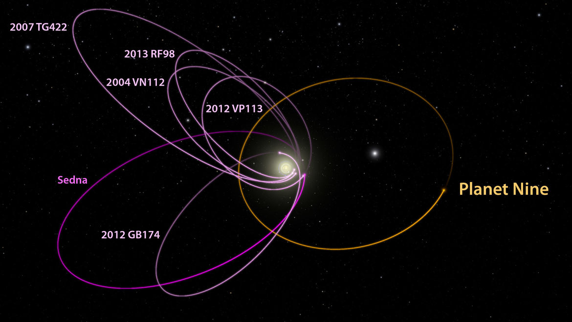 Many trans-Neptunian objects have orbits that appear to be roughly aligned, expected if another large planet exists in the outer solar system. Credit: Caltech/Robert Hurt (IPAC)