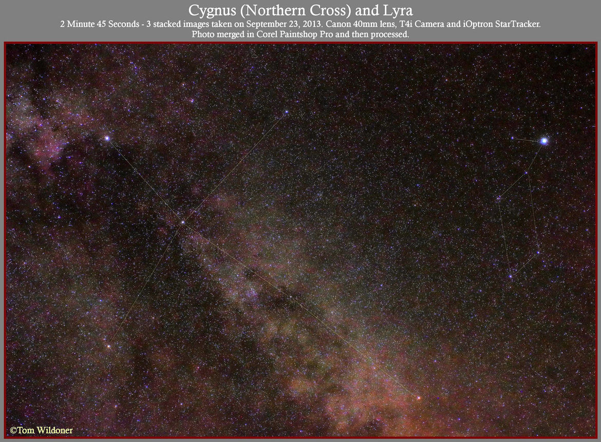 A wide-angle view of the constellation of Cygnus, the swan, also called the Northern Cross. Albireo is the star to the lower right at the base of the cross (the head of the swan). Credit: Tom Wildoner