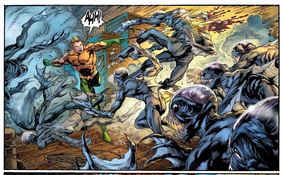 Aquaman #2 (2011) written by Geoff Johns, illustrated by Ivan Reis.