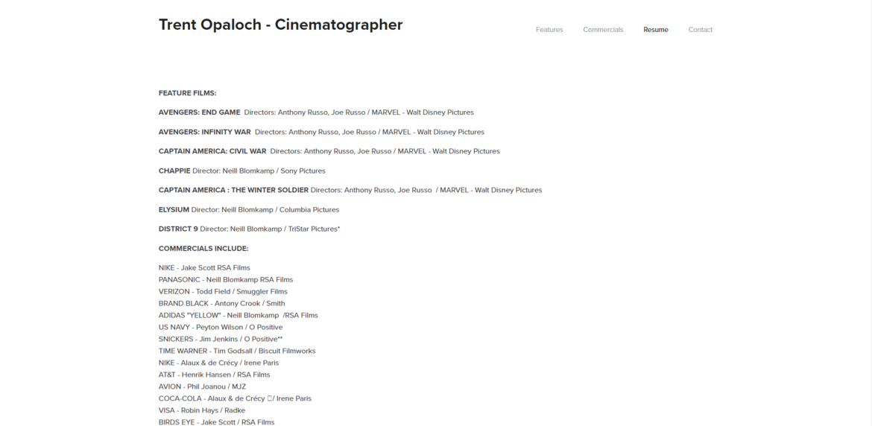 Trent Opaloch Resume Page