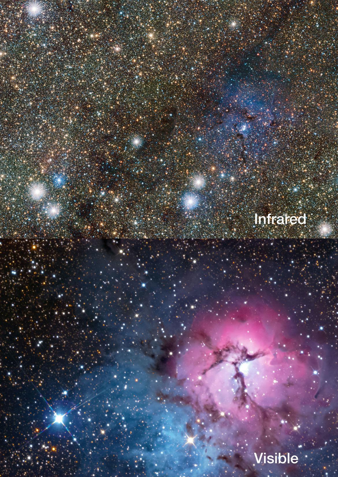 The Trifid Nebula in infrared light (top) versus optical light (bottom). Credit: ESO/VVV consortium/D. Minniti/Gábor Tóth