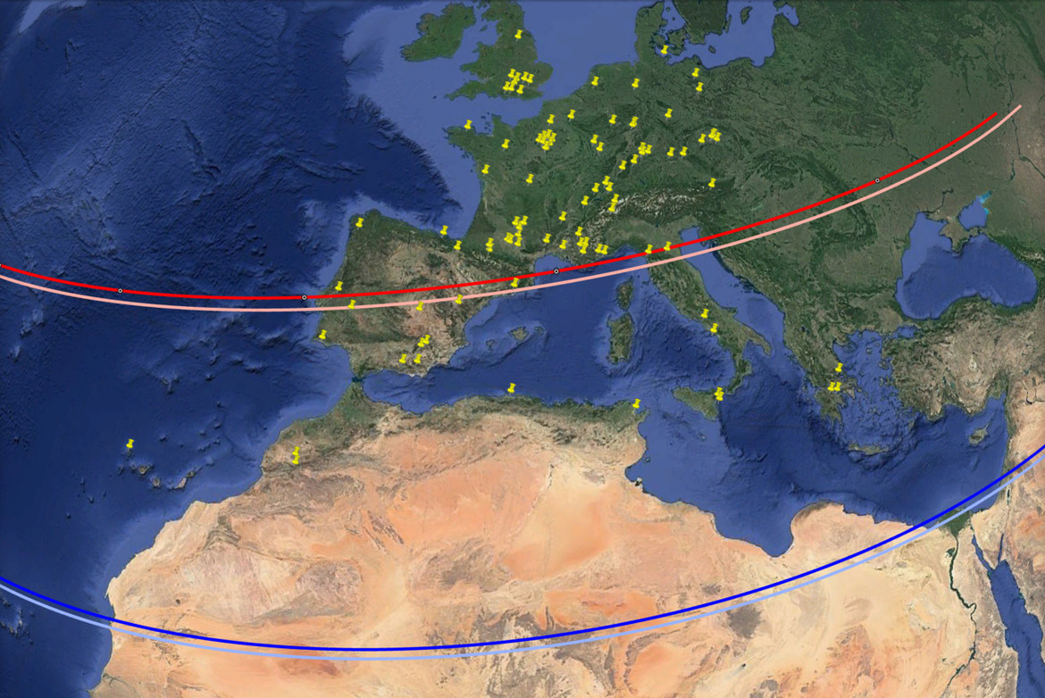 central line, a& the red the actual center line measured using observation. The light blue was the predicted southern limit & the dark blue the actual one. Yellow pins are observatories. Credit: Google, INEGI, ORION-ME; annotation: ERC Lucky Star project