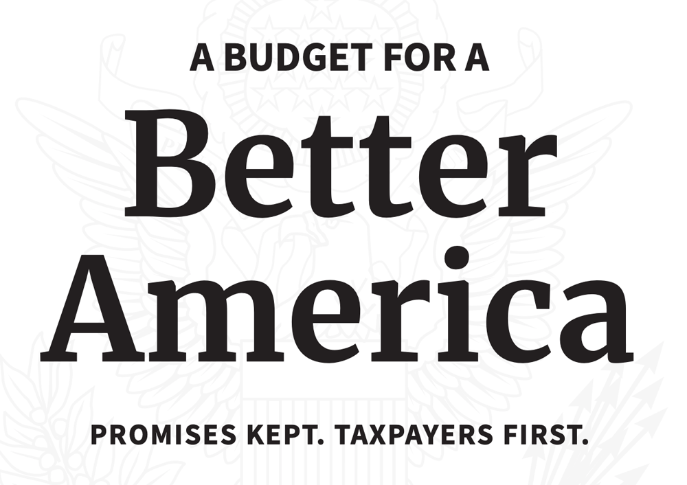 """This is the title page of the White House Presidential Budget Request for FY2020. """"Promises kept"""" is not exactly accurate. Credit: The White House"""