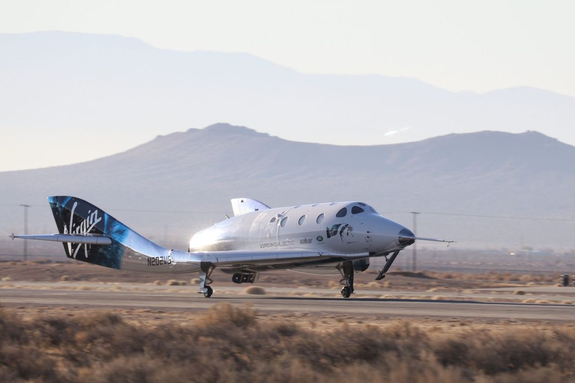 The VMS Unity back on Earth once again after its first flight to space. Credit: Virgin Galactic