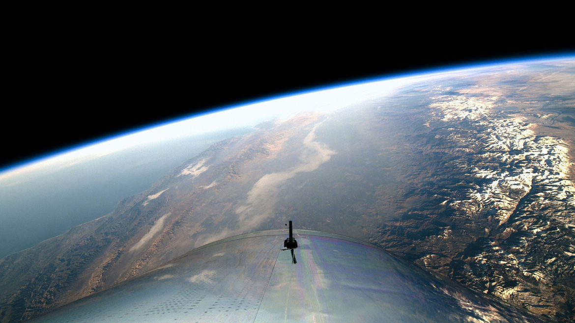 View from a height: The Earth from VMS Unity on its pioneering first space flight. Credit: Virgin Galactic