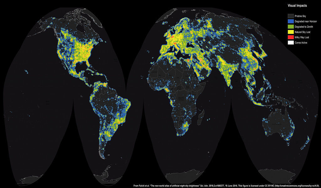 NASA map of artificial light around the world