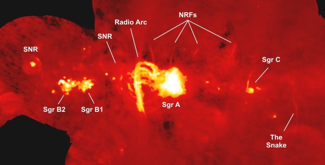 """A combination of radios images from the VLA and Green Bank Telescopes show the galactic center and the curved arcs of gas around the Arches Cluster (labeled """"radio arc""""), as well as a few other features. Credit: NRAO/AUI/NSF Yusef-Zadeh, et al."""