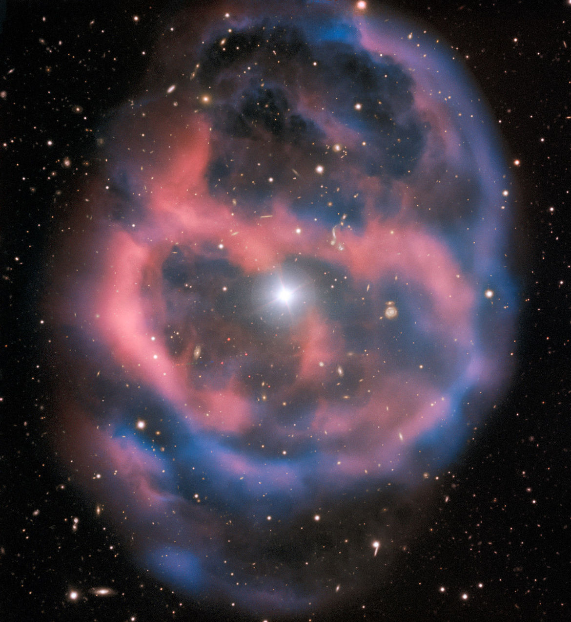 The planetary nebula Abell 36, the glowing gas thrown off by a nearby dying star. Credit: ESO