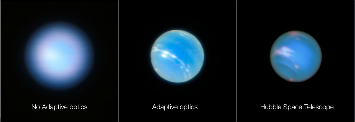 Neptune seen without adaptive optics (left), with AO (middle) and compared to a similar image using Hubble Space Telescope (right). Credit: ESO/P. Weilbacher (AIP) / NASA, ESA, and M.H. Wong and J. Tollefson (UC Berkeley)
