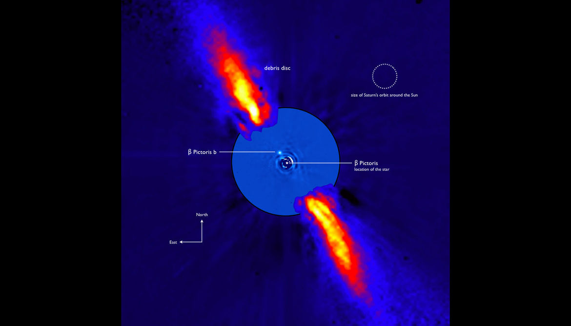 The discovery image of the exoplanet Beta Pictoris b (labeled) taken by the ESO Very Large Telescope. Credit: ESO/A.-M. Lagrange et al.