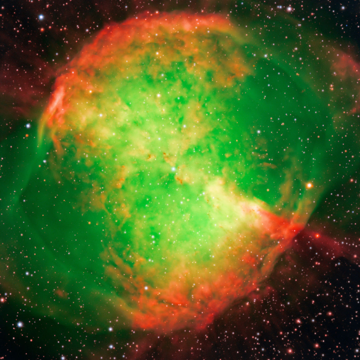 The spectacular Dumbbell Nebula, a dying star that has cast off its outer layers which now glow. Credit:ESO/I. Appenzeller, W. Seifert, O. Stahl