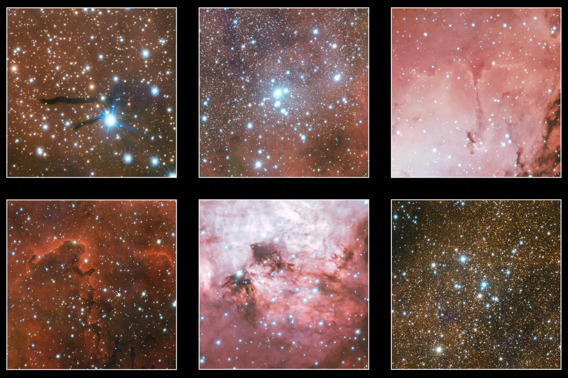 Highlights from a huge image of nebulae taken using the Very Large Telescope Survey Telescope. Credit: ESO