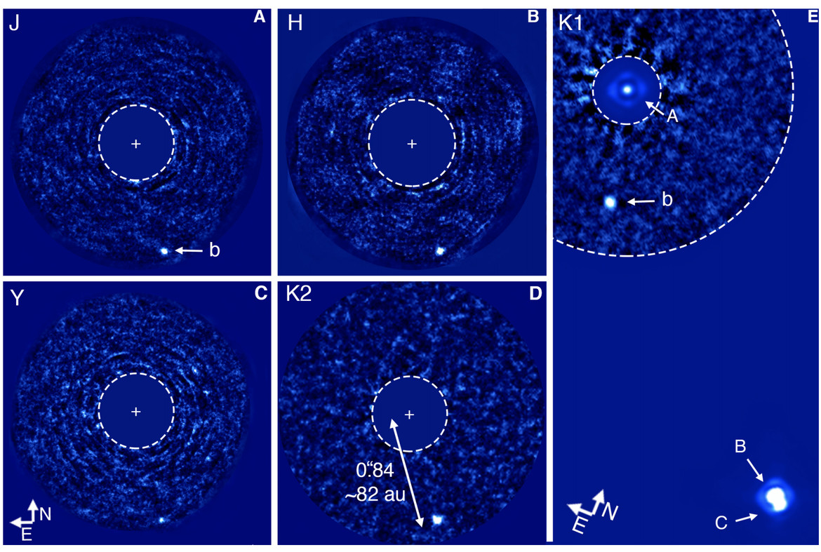 Actual, direct images of the exoplanet HD 131399Ab using the Very Large Telescope in Chile. Credit: Wagner et al.