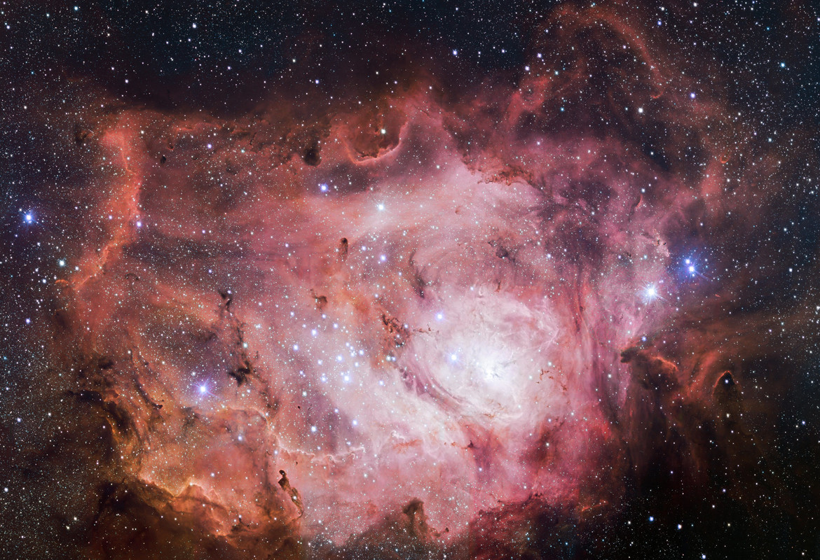 The Very Large Telescope Survey Telescope took this wide-angle shot of the Lagoon Nebula, showing it in all its glory. Credit: ESO/VPHAS+ team