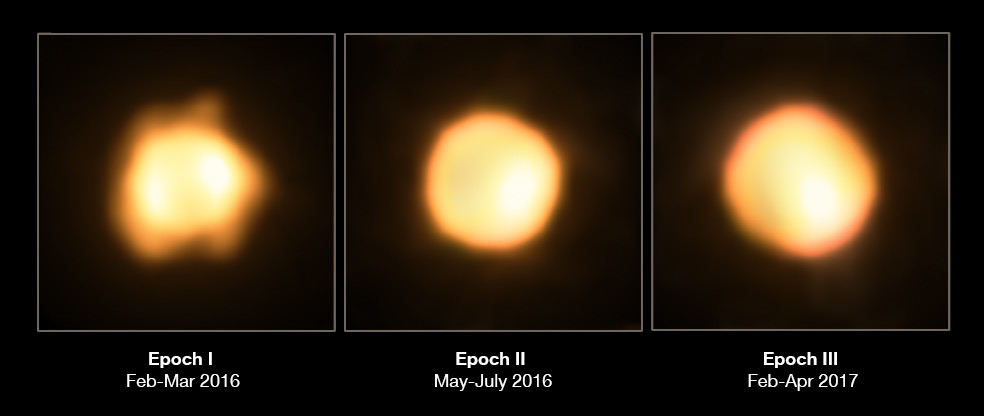 The gigantic star V766 Centauri seen over three years: (left to right) 2014, 2015, and 2016. These are actual images of its disk, a tremendous feat. Credit: ESO/M. Wittkowski (ESO)