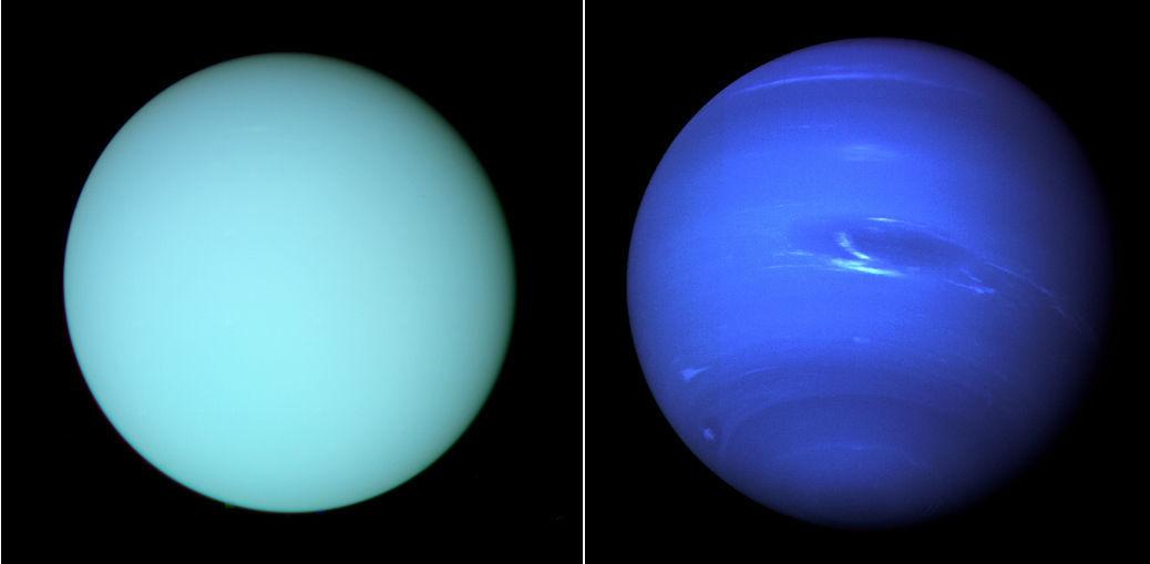 Uranus (left) and Neptune (right) seen by Voyager 2 during flybys in 1986 and 1989. Credit: Uranus: NASA/JPL-Caltech/Kevin M. Gill; Neptune: NASA/JPL-Caltech