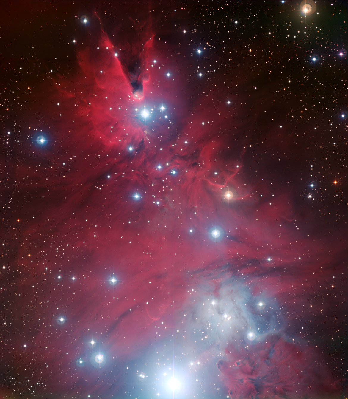 Wider view of NGC 2264, showing the Cone nebula. Credit: ESO