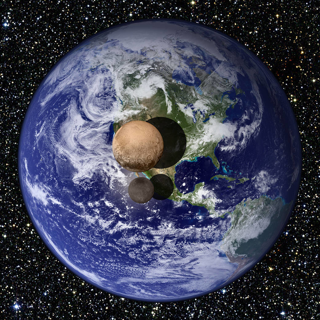 Earth and Pluto to scale