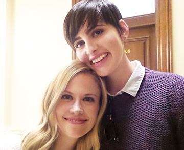 Grimm's ladies Jacqueline Toboni (Trubel) and Claire Coffee (Adalind Schade) at the 100th episode celebration.