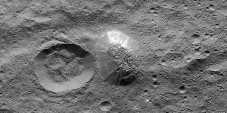 NASA perspective simulation of Ahuna Mons