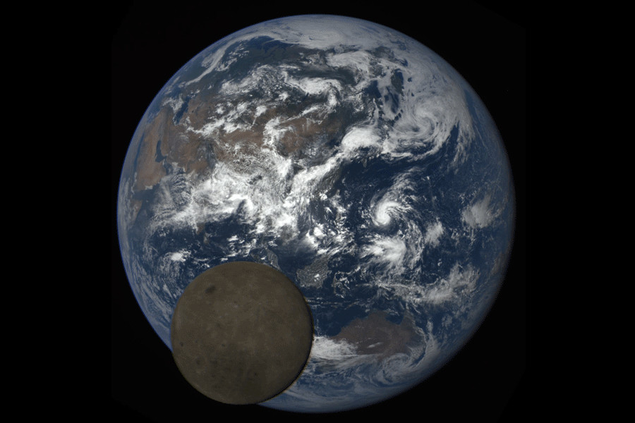 Moon photobombs Earth