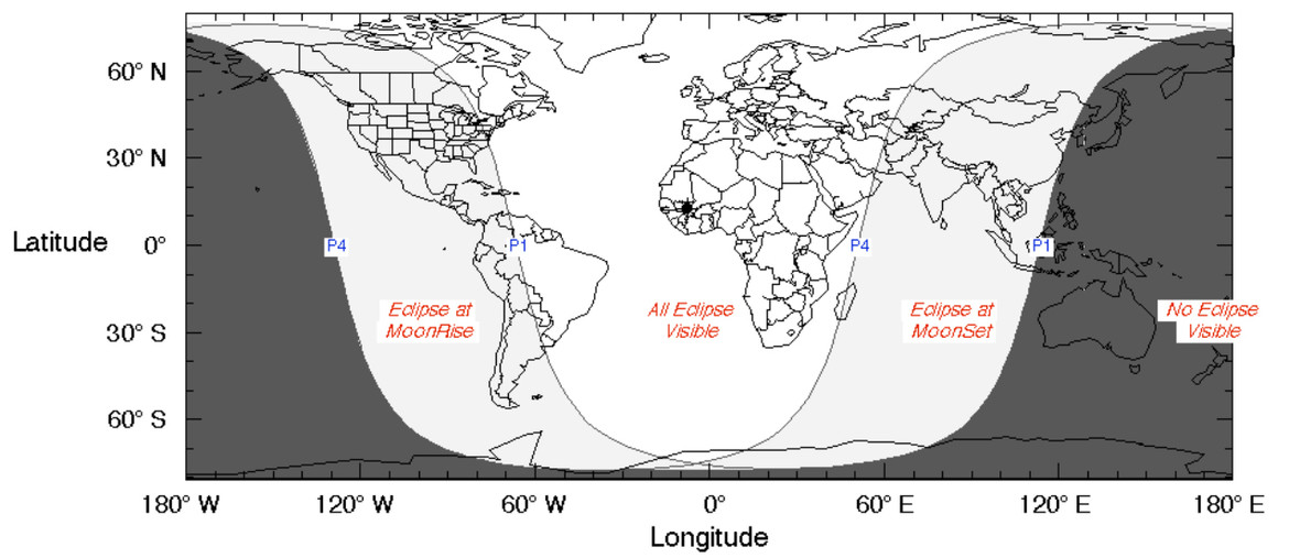 map of lunar eclipse visibility