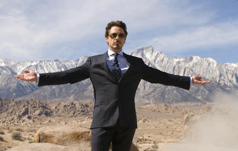 Iron Man- Robert Downey Jr. as Tony Stark posing during a bomb test