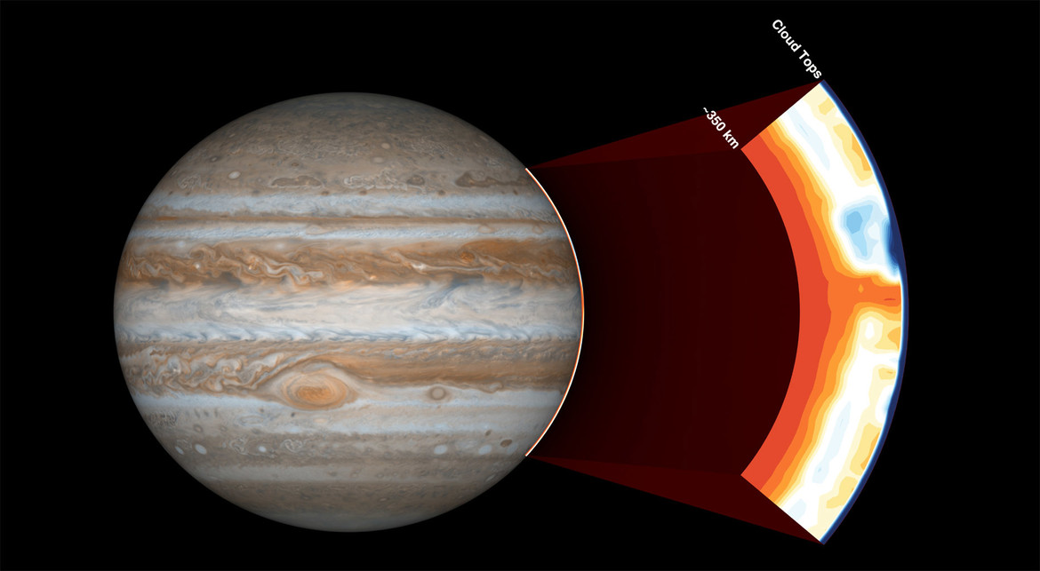 map of ammonia in Jupiter