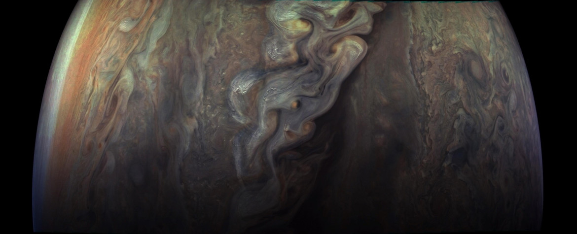 swirling storms on Jupiter