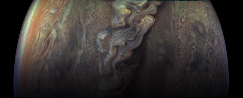swirling storms on Jupiter
