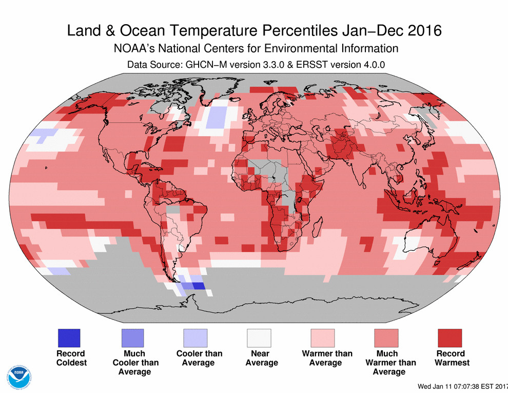 2016 hottest year global map