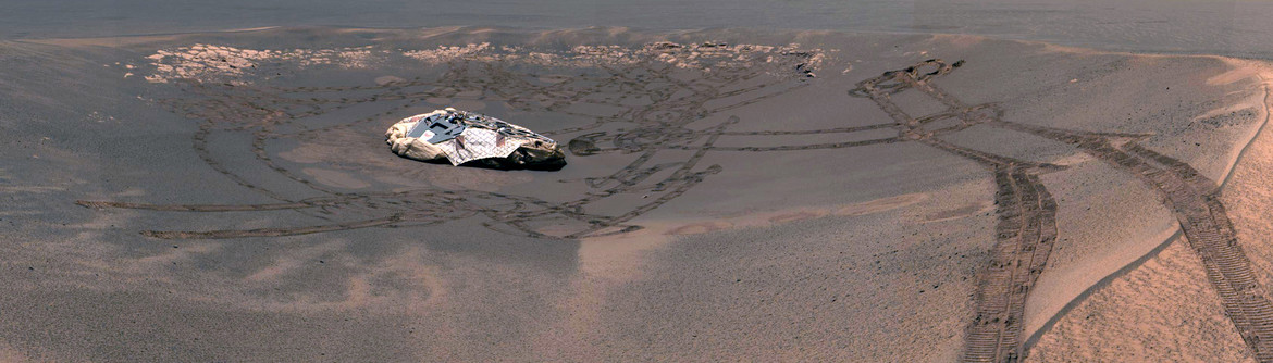Opportunity landing site from the ground