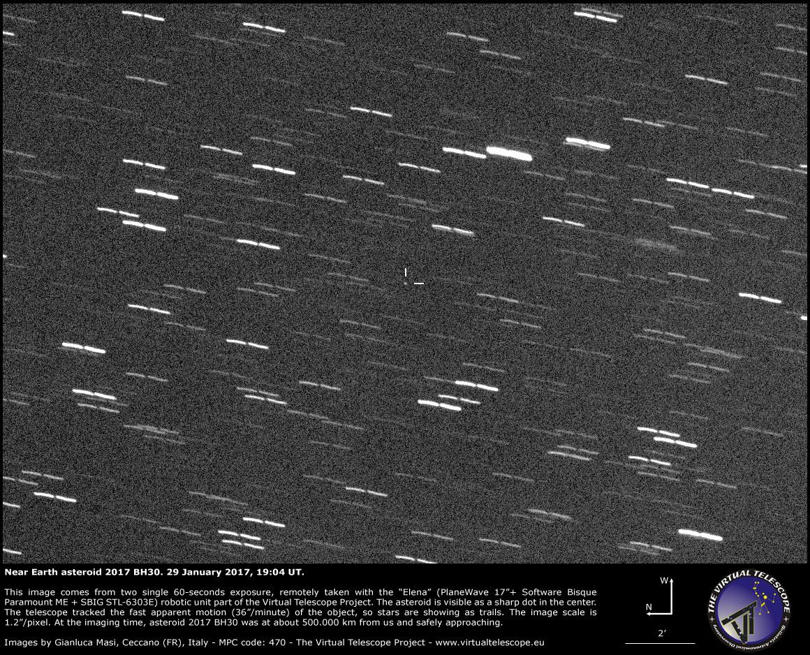 Virtual Telescope image of asteroid 2017 BH30