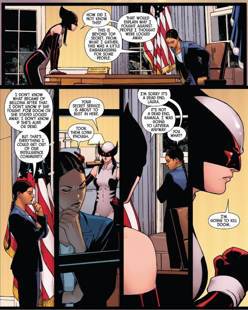 All-New Wolverine #33- Old Woman Laura and President Kamala Khan