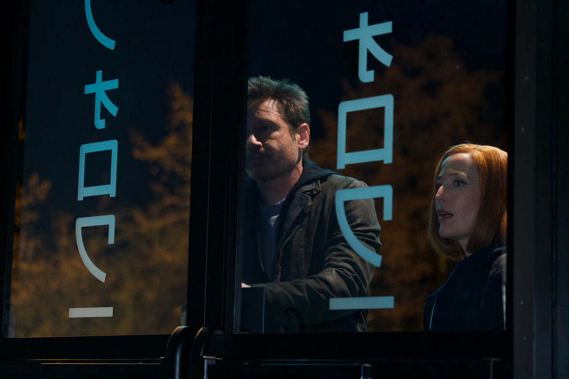 X-Files episode 1107 - Mulder and Scully outside sushi restaurant