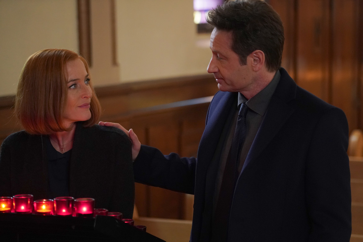The X-Files episode 1109 Nothing Lasts Forever - Mulder and Scully in church
